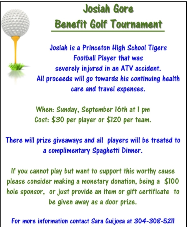 Joshia Gore Golf Benefit-September 16 at Princeton Elks