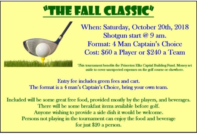 Fall Classic Tournament - October 20 - Princeton Elks